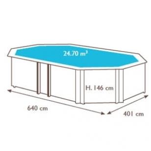 Surenkamas medinis baseinas Odyssea Odyssea Octo+ 640, Aukštis: 146 cm