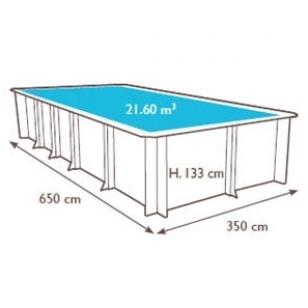 Surenkamas medinis baseinas Odyssea Stačiakampis 6x3, Aukštis: 133 cm