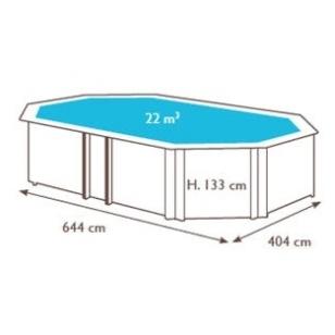Surenkamas medinis baseinas Weva Octo+ 640, Aukštis: 133 cm