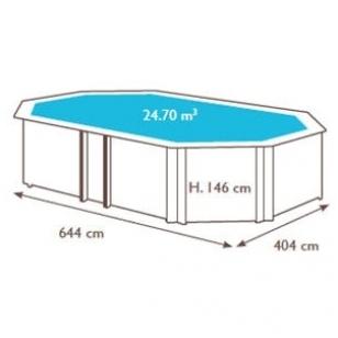Surenkamas medinis baseinas Weva Octo+ 640, Aukštis: 146 cm