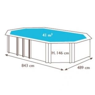 Surenkamas medinis baseinas Weva Octo+ 840, Aukštis: 146 cm